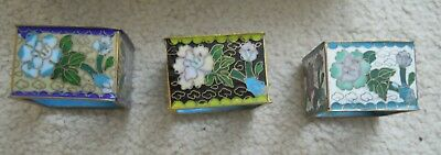 Vintage Chinese Cloisonne Floral Napkin Serviette Ring set of 3, boxed
