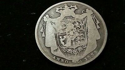 1834 . Great Britain . Half Crown . 1/2 cr . Large Old World Silver Coin