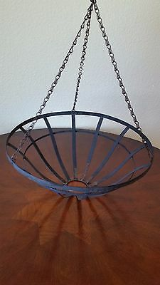 Vintage Plant Holder Black Wrought Iron Hanging Basket Planter Indoor / Outdoor