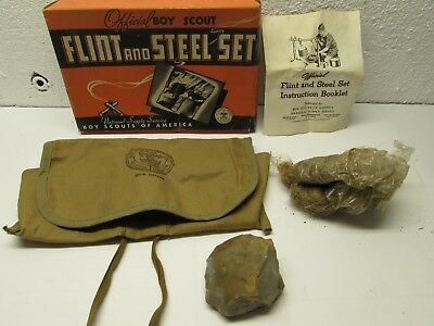 1946 Official Boy Scout FLINT and STEEL SET-Box-Instructions-Pouch-Contents