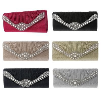 Womens Pleated Glitter Diamante Pearl Envelope Clutch Bag Evening Bridal HandBag