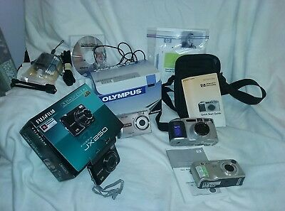 Camera Lot 4 Digital Cameras Olympus, HP, Fuji w Accessories