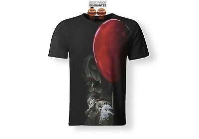 Full Print 3D T-Shirt Stephen King It Movie 2017 Pennywise Horror Clown S - 7XL