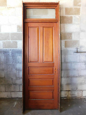Antique Victorian Interior Door with Transom - 1895 Fir Architectural Salvage