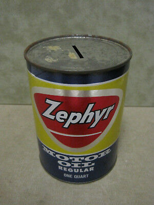 Zephyr Cardboard Quart Size Oil Can Bank  very bright colors displays well