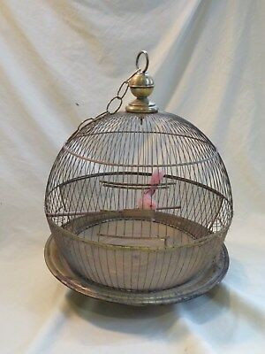 "Vintage HENDRYX 15"" x 20"" Hanging Brass Ornate Decorative Dome Bird Cage & Chain"