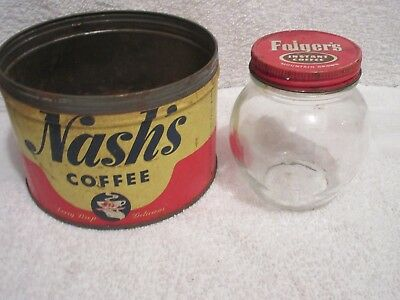 vintage Nash's Coffee tin & Folgers coffee glass jar with lid lot G