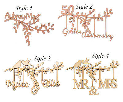 Wooden MDF Branch Shape Personalised Own Names Bespoke Wedding Gift Birthday