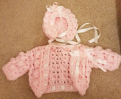 Reduced Baby Girls Handmade Crochet Knitted Wool Cardigan Bonnet Pink Set 0-3