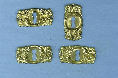 Antique SET 4 VICTORIAN PRESSED BRASS KEY HOLE COVER ESCUTCHEON HARDWARE #03786