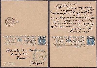India 1892 - Postal stationery to Louvain Belgium - Paquebot