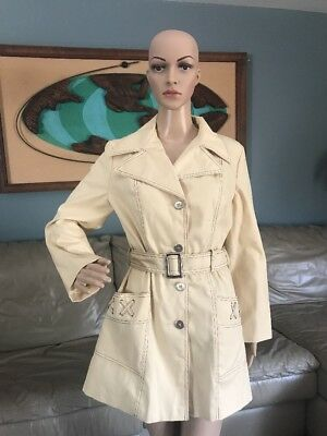 Vintage 1970's Cream Trench Coat Belted Rain Jacket Visible Stitching Woman's M