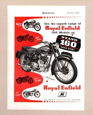 ROYAL ENFIELD MOTORCYCLES  /  NORTON DOMINATOR MOTORCYCLE   (1954 Advertisement)