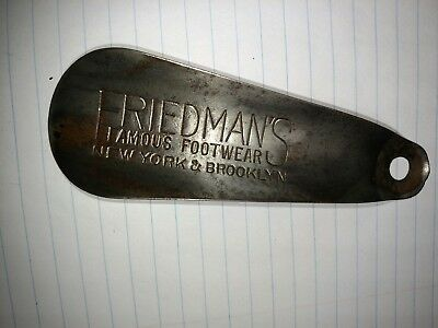 Vtg Steel Shoehorn Friedman's Famous Shoe Store, Brooklyn NY and New York , NY