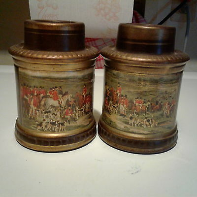Rare Hand Painted Terra Cotta Candle Holders Made In Italy Foxhound Appliqué Vtg