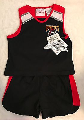 Pirates Tank & Short Set Outfit Red & Black Baseball Size youth 5 6 and 14 NWT