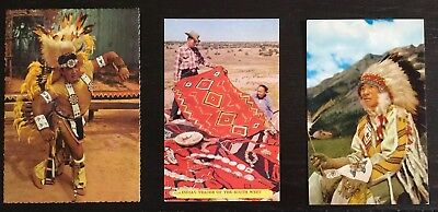 3 Color Postcards - Native American Pawnee Dancer, Indian Trader & Chief