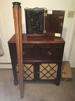 Antique Warren Knight Surveying Transit #2-12619 With The Mahogany Case & Tripod