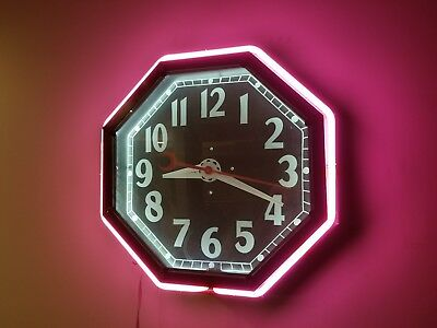 1940s 8 sided Cleveland Neon Clock Electric encc