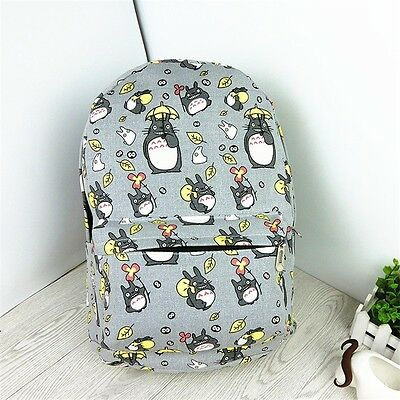 Anime Studio Ghibli My Neighbor Totoro Gray Canvas Backpack School Shoulder Bags