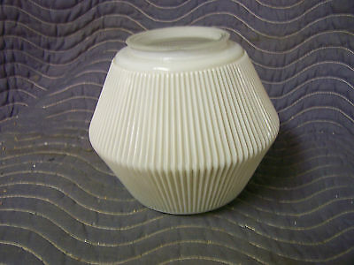 Vintage Pleated Glass Light Globe/Shade Pleated White with Clear Glass Bottom