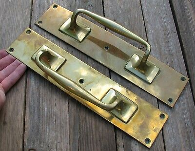 Large Reclaimed Pair of Brass Door Handle Pulls Shop / Bar / Pub 12""