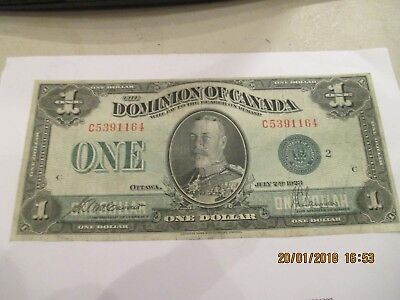 1923 Canada Large Size 1.00 Note