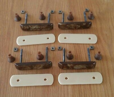"Antique Bakelite Art Deco Drawer Pulls Set of 4 RARE Brown White 2"" Bore 1920s"