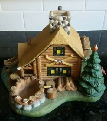 PartyLite Log Cabin Gone Fishing Tealight Candle Holders Lake Nature Woods Boat