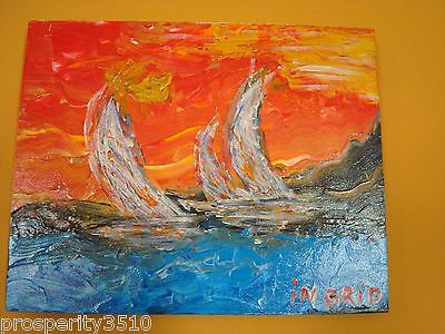 Original Modern Art Abstract Oil Painting On Canvas Sail Boats with Vivid Colors