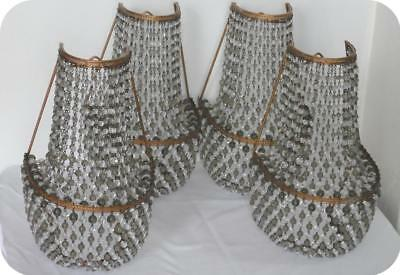 Vintage Czech Glass Beaded Smoke & Clear 4 Lamp Brass Shades Wall Sconces