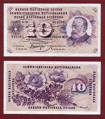 10 Francs 1970 Switzerland Schweiz Suisse 65M VF