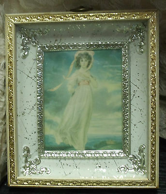 """Pinkie Girl Print Ornate Gold & Silver Color Frame 6.5"""" x 7.5"""" Hook to Hang"""