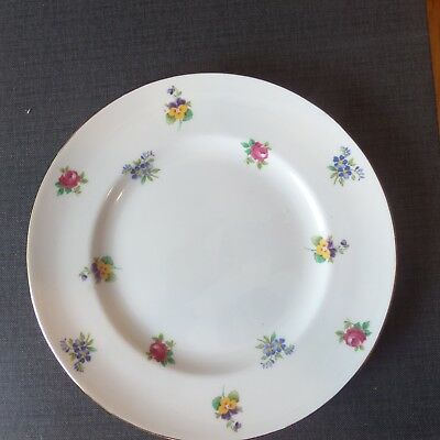 Crown Staffordshire Bone China  Rose Pansy Flower Pattern 8 1/4 Plate England
