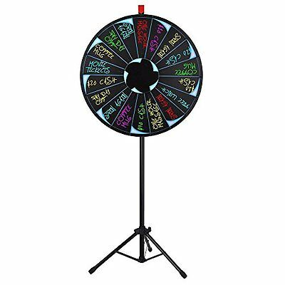 """30"""" Editable Prize Wheel Of Fortune 18 Slot Floor Stand Tripod Spinning Game"""