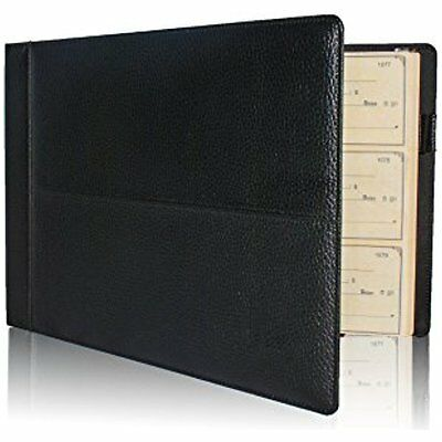 Premium PU Leather Business Check Binder 7 Ring 3 On Page Checkbook Holder W/