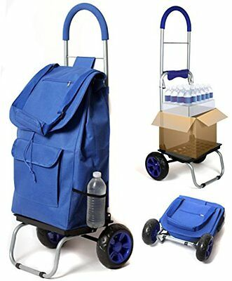 Trolley Dolly, Blue Shopping Grocery Foldable Cart