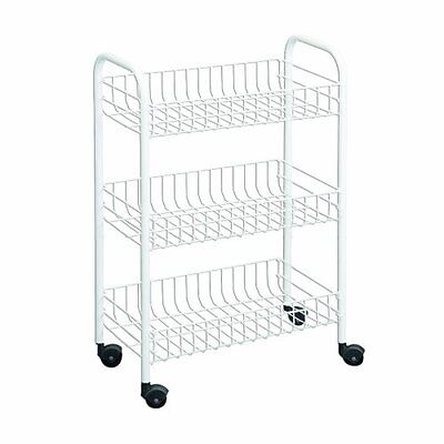 Inc. Rolling Cart, White, 3-Tier