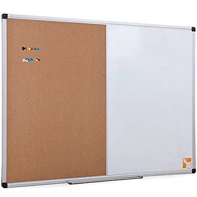 36 X 24 Inch Magnetic Dry Erase/Cork Combo Board, Whiteboard & Corkboard With 10