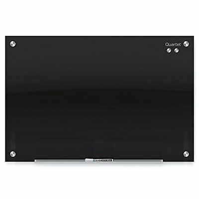 "Glass Dry Erase Board, Whiteboard / Magnetic, 36"" X 24"", Black Surface, Infinity"
