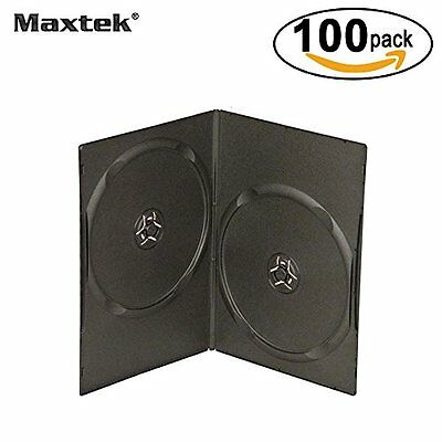 7mm Slim Black Double CD/DVD Case, 100 Pieces Pack.