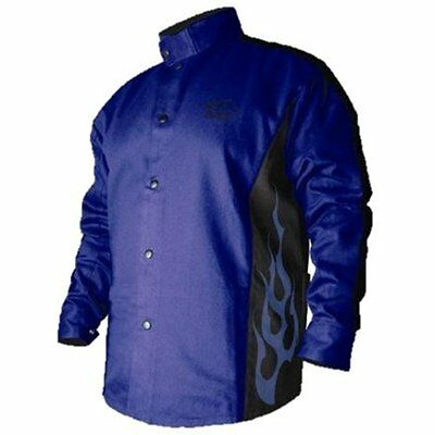 2XL BSX Flame-Resistant Welding Jacket Blue With Flames