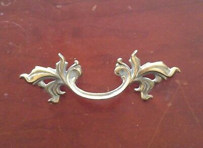 "Belwith Brass French Provincial Drawer Pull 3"" Bore Gold Gray Fancy Ornate Leafy"
