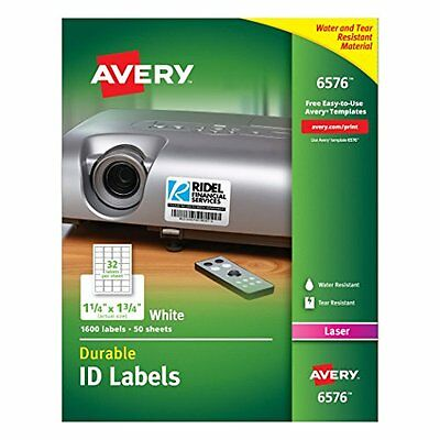 """Durable White Cover Up ID Labels For Laser Printers, 1.25"""" X 1.75"""", Pack Of 1600"""