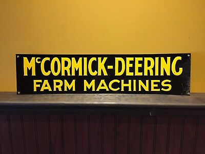 Original McCormick-Deereing Farm Machines Embossed Tin Litho Sign