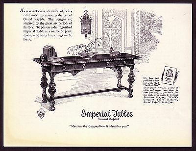 1920s old original VINTAGE Imperial Tables Michigan Antique Furniture print AD