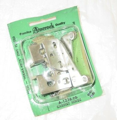 Vintage Zinc Plated Pivot Knife Overlay Cabinet HINGES Amerock A-1238-2G USA NOS