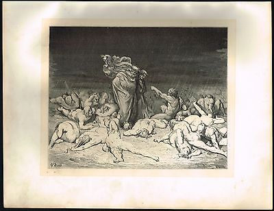 1860's Big ANTIQUE Vintage Hell Bodies Gluttons Gustave Dore Art Engraving PRINT
