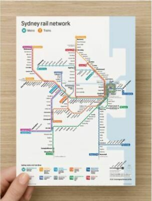 Sydney Pocket Metro Rail Network Train Map Card in A5 and A6 size