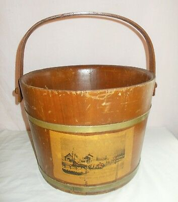Antique Wood Sugar Bucket Currier & Ives Paper Label Winter On The Farm OLD!
